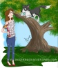 A little border collie that climbs trees