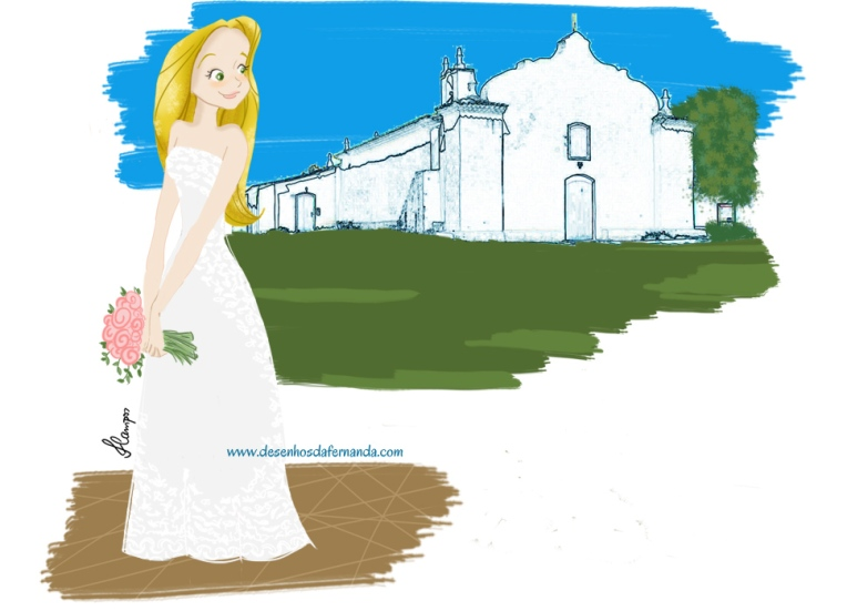 Ilustração estilo portrait de noivinha que casa em Trancoso