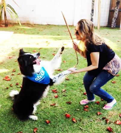 e aqui estou eu exibindo os truques do dog! É um momento de interação e comunicação incrível, recomendo super!