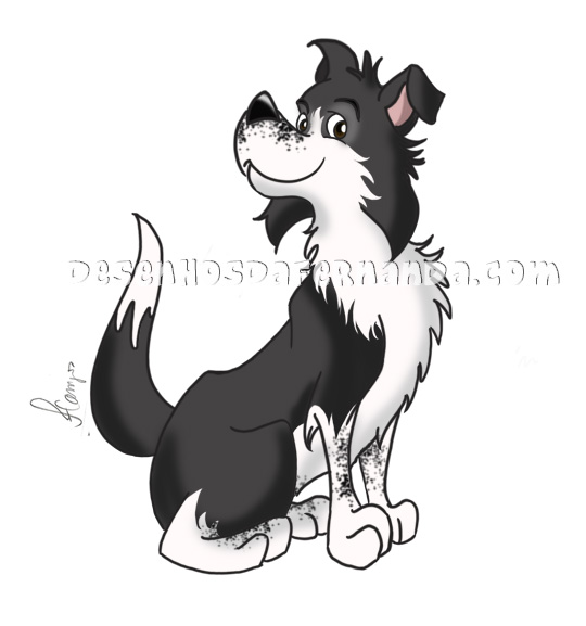 Pet Portrait do meu border collie Chaplin