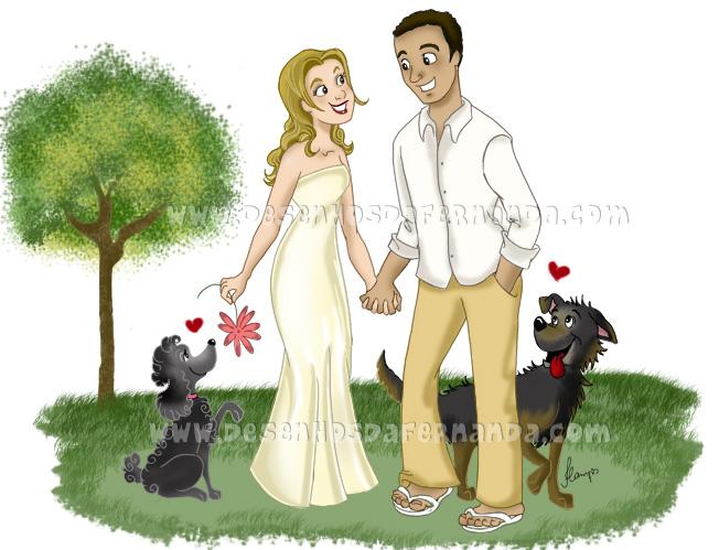 Ilustração personalizada para um simpático casal de noivos  :)