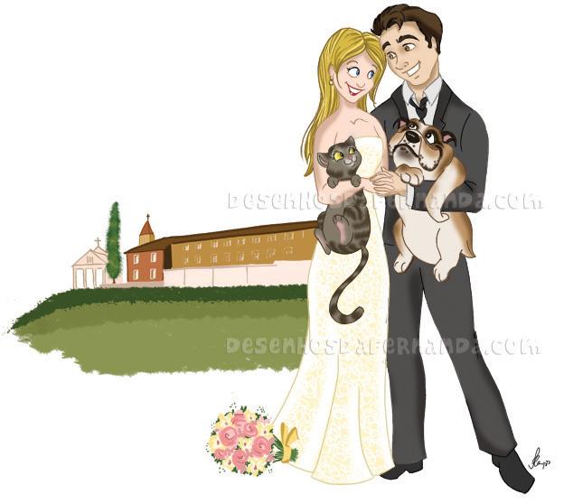 Desenho de noivinhos personalizados para esse simpático casal gaúcho
