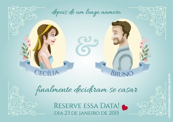 Os noivis ilustrados para o Save the Date