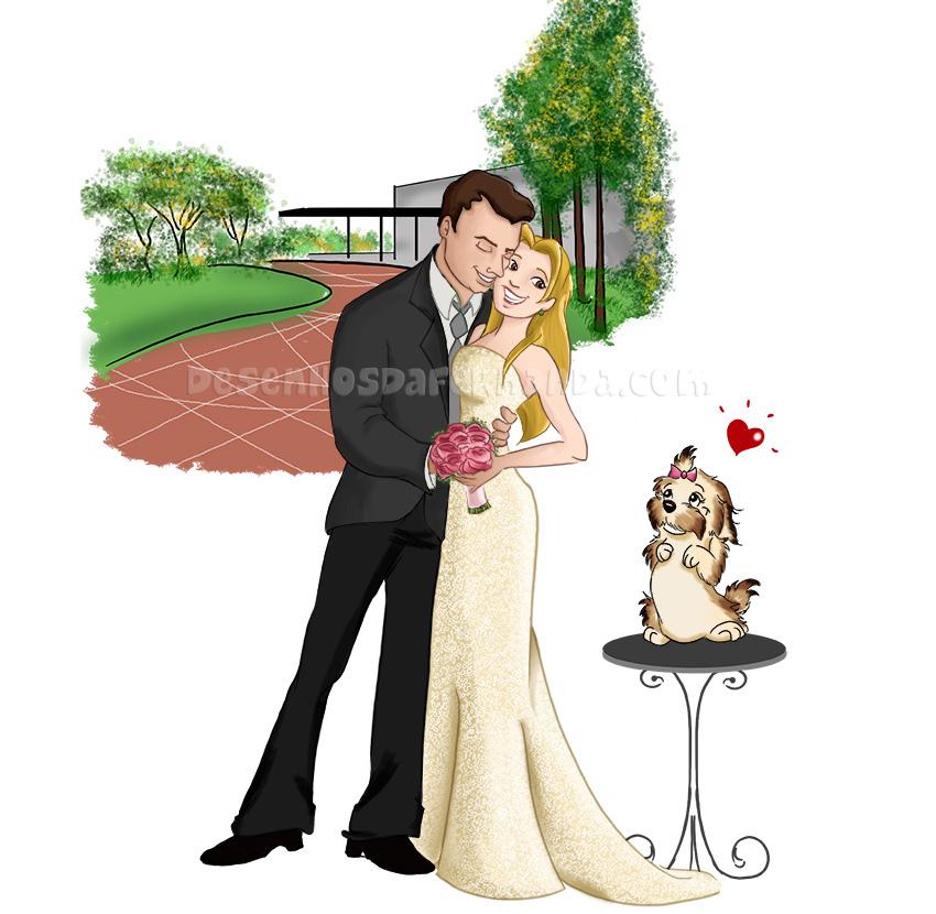 desenho de noivinhos para casal de Goiânia