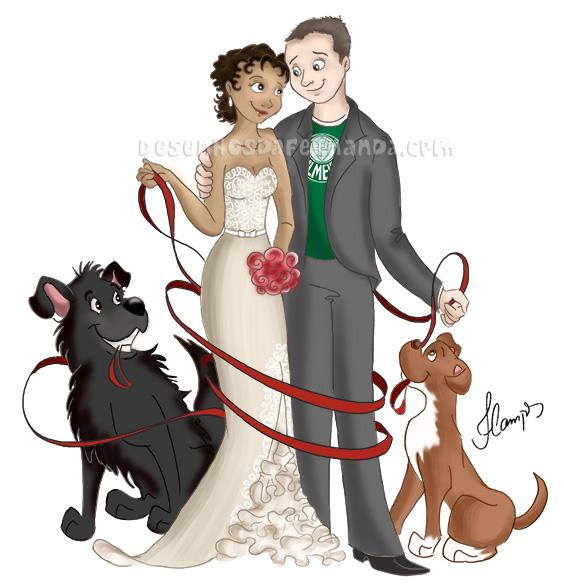 Núcleo familiar: noivinhos e a cachorrada